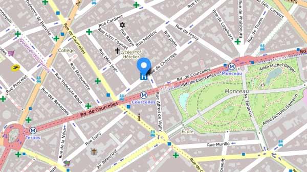 Clinique du Parc Monceau : plan d'accès